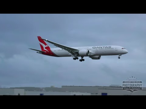 QANTAS 787-9 - Landing at Paine Field after test flight