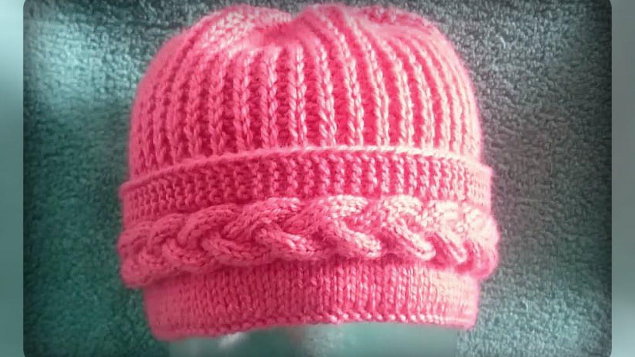 женская шапка с поперечной косой спицами