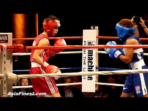 China Cancan Ren vs USA Tyrieshia Douglas at Empires Collide Olympic Boxing Event in NY