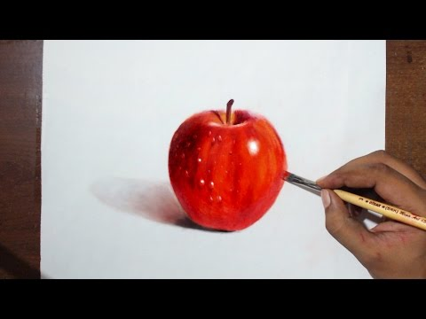 Drawing/Painting a Red Apple - Oil painting Dry brush + prismacolor pencils