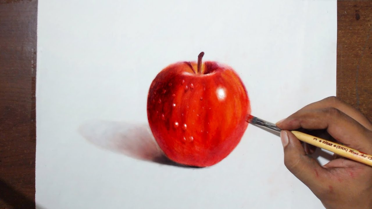 Drawing painting a red apple oil painting dry brush prismacolor pencils
