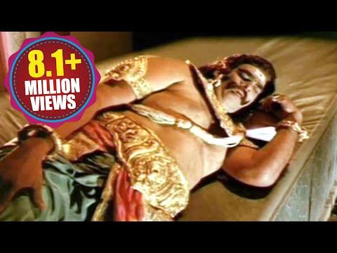 Sampoorna Ramayanam Scenes - Kumbhakarna In A Deep Sleep Mode - Shobhan Babu