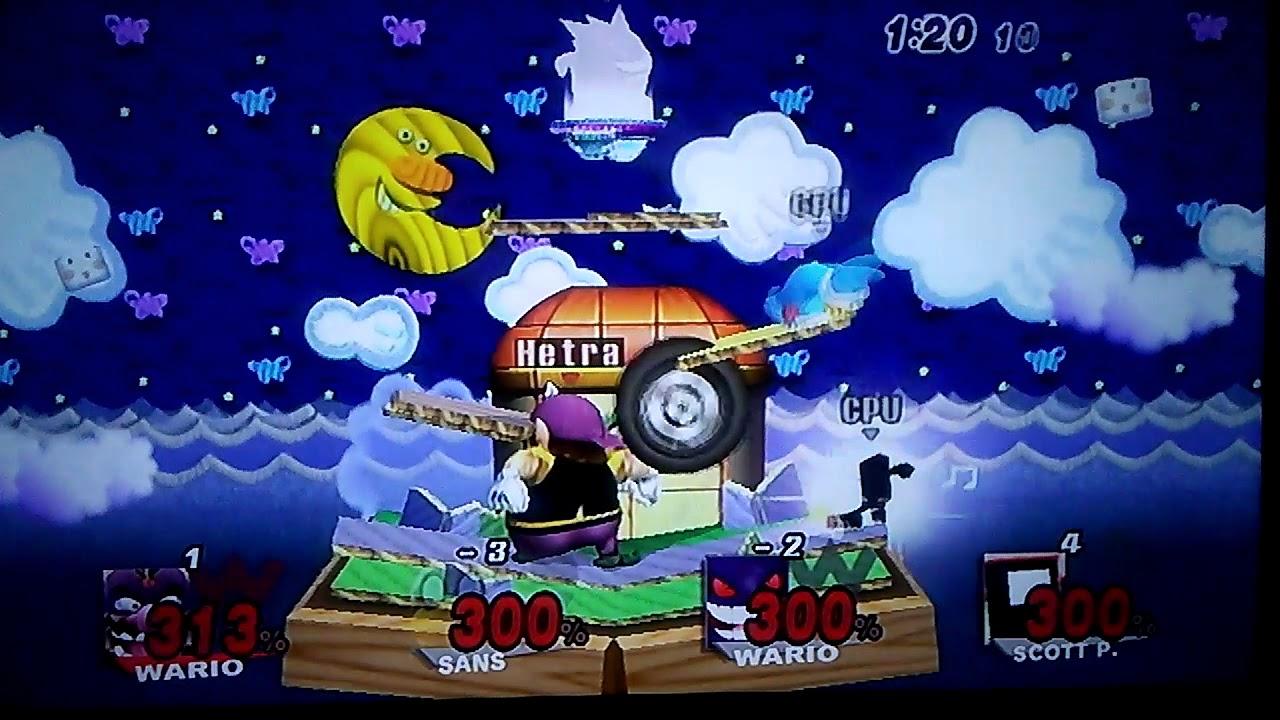Super Smash Bros  Infinite 300% Mega Mega Match - Wario Vs Magic Koopa Vs  Gengar Vs Commander Video