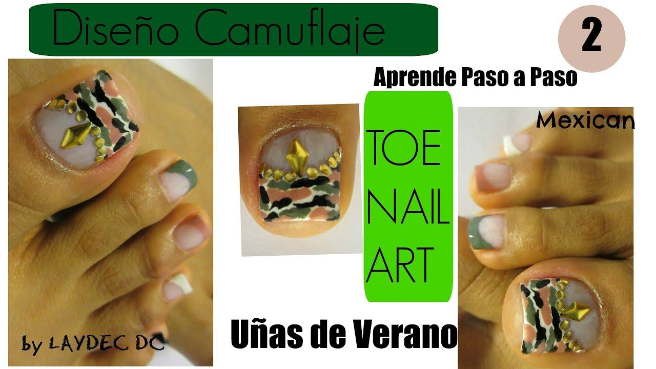 French Camuflaje decoración uñas de los pies/Camouflage print toe ...
