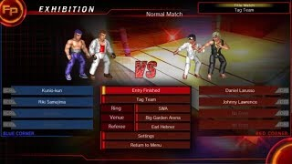 Fire Pro Wrestling World - Kunio & Riki vs Daniel & Johnny (Tag Team Title match)