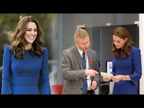Thrifty Duchess! Kate recycles blue shift dress as she pays surprise visit to Imperial War Museum