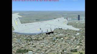 FSX C5 Galaxy Take off and Landing at Logan in Boston