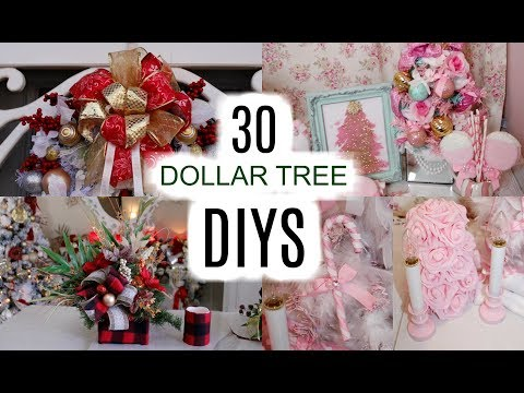 🎄30-dollar-tree-christmas-crafts-🎄-wreaths,-centerpiece,-bows,-ornaments...