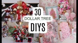 🎄30 DOLLAR TREE CHRISTMAS CRAFTS 🎄 WREATHS, CENTERPIECE, BOWS, ORNAMENTS...