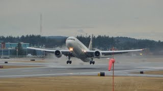 UPS B767-300 Wet Runway Takeoff