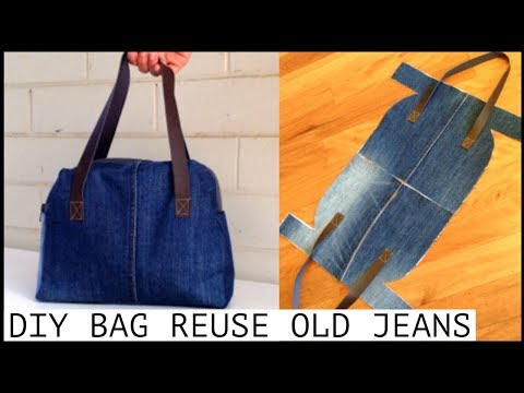 DIY JEANS PURSE BAG ZIPPER HANDBAG OUT OF OLD JEANS/BOLSA DIY/coubdre un sac/裏地付きハンドバッグの作り方/กระเป๋า
