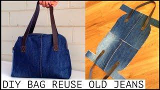 DIY JEANS PURSE BAG ZIPPER HANDBAG OUT OF OLD JEANS/BOLSA DIY/coubdre un sac/裏地付きハンドバッグの作り方/กระเป๋า