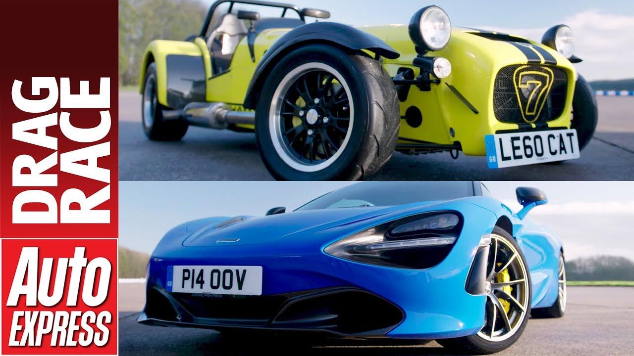 McLaren 720S vs Caterham 620R drag race - supercar takes on pocket rocket