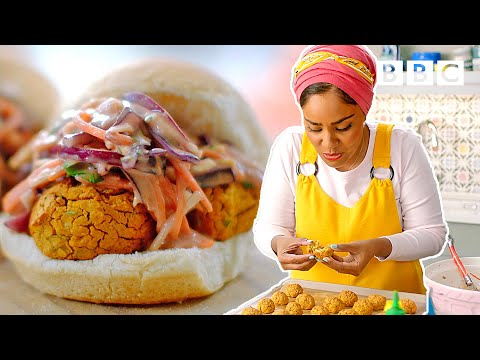 Insane baked bean falafel burgers recipe! | Nadiya's Time to Eat - BBC