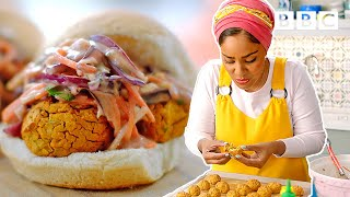 Insane baked bean falafel burgers recipe! | Nadiya's Time to Eat - BBC