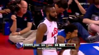Dominican Republic vs  USA 7 12 2012 2nd Quarter P5 Dreamteam 2012 Olympic Basketball Team Warm Up