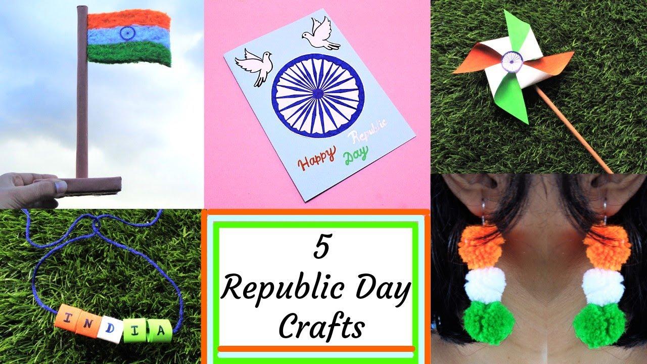 DIY: 5 Easy Republic Day Craft Ideas/ Indian Tricolour Crafts/Republic Day Craft 2021
