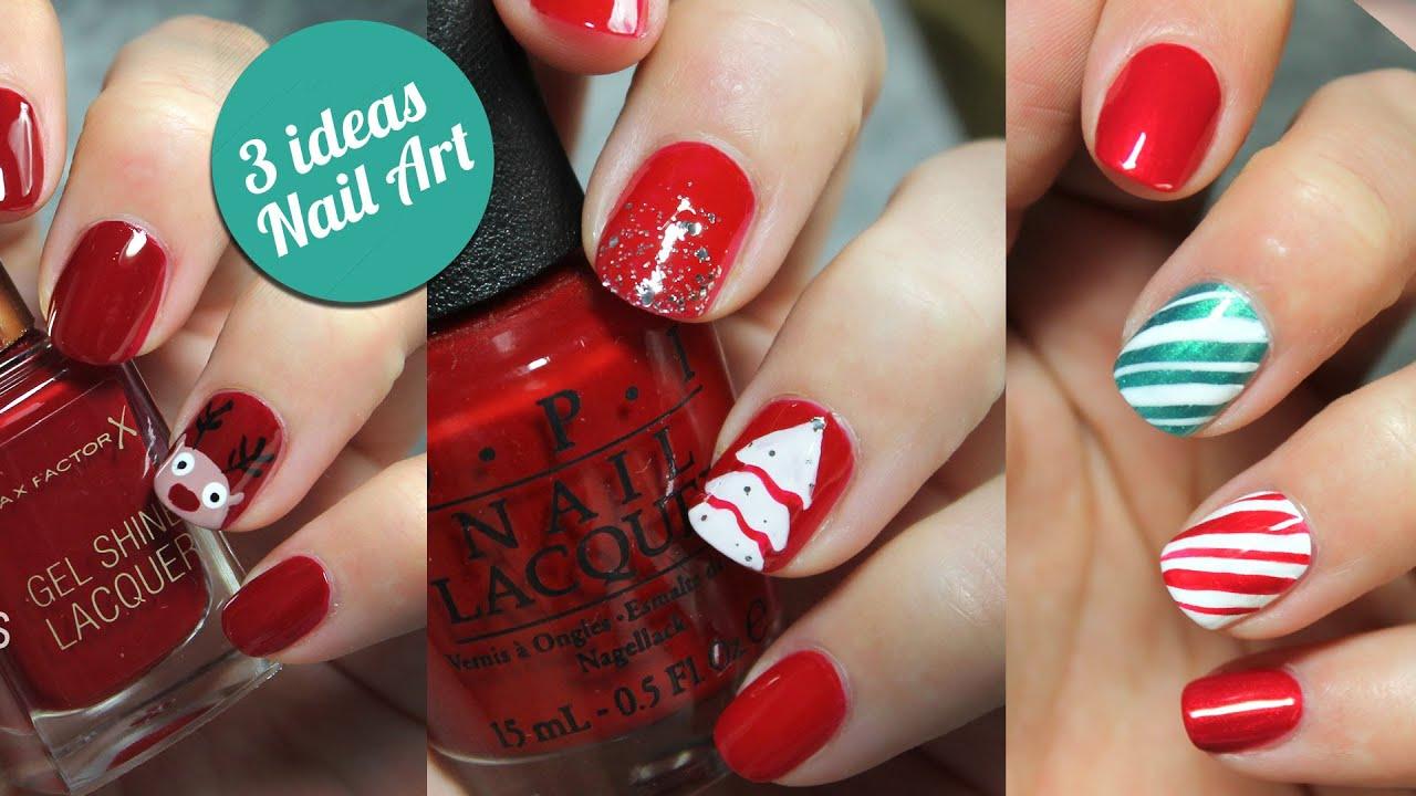 3 ideas para decorar tus uñas en Navidad | paso a paso - YouTube