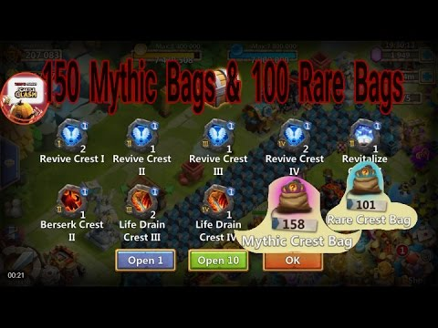 Opening 150 Mythic Crest Bags And 100 Rare Crest Bags - Castle Clash