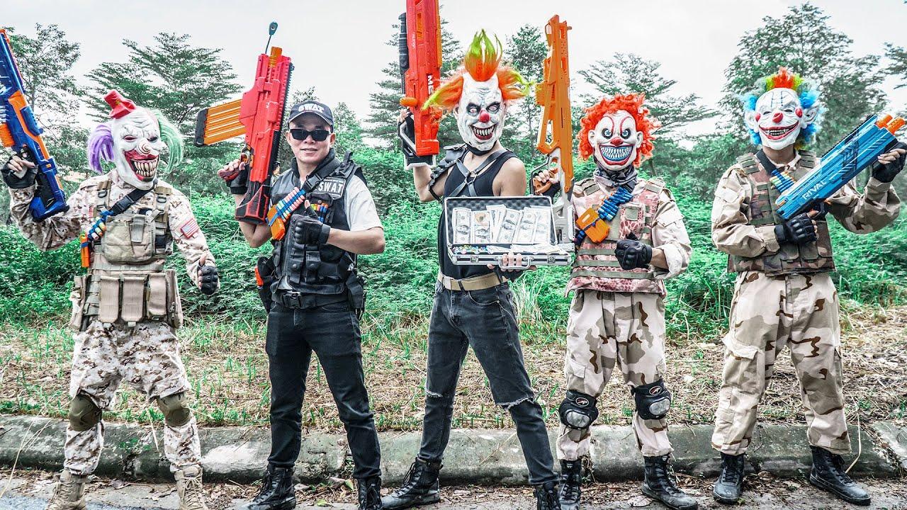 MASK Nerf War : Captain Warriors Alpha Nerf Guns Fight Group Masks CRIME CITY
