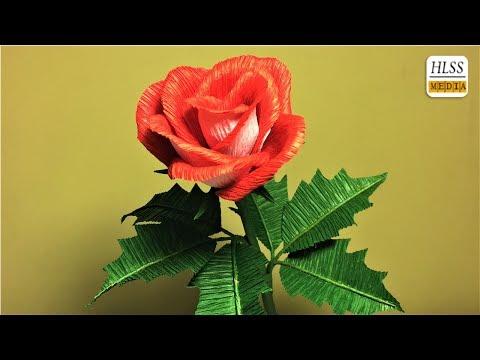 How to make rose paper flower| diy rose crepe paper flower making tutorials| paper crafts