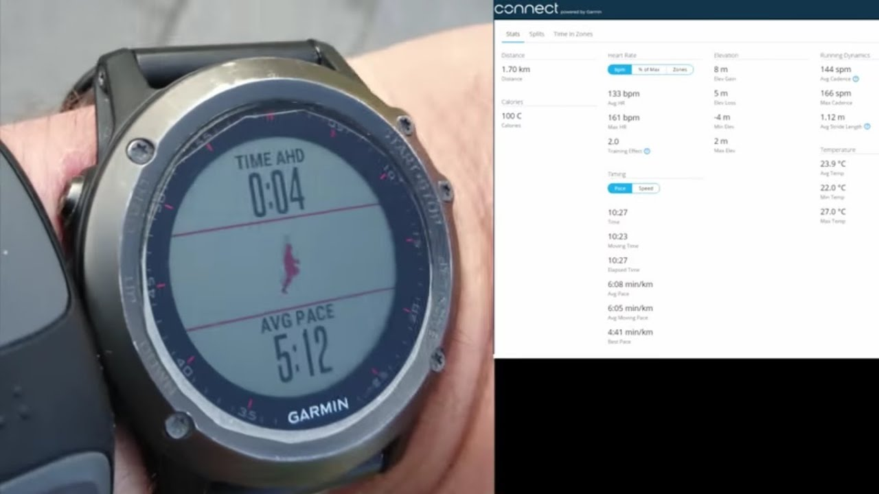Garmin Fenix 3 Running demo with Virtual Partner, VO2 max and Performance  condition functions