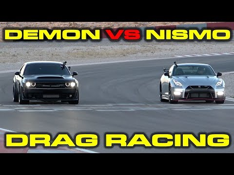 Dodge Demon vs Nissan GT-R Nismo Drag Racing at Speed Vegas