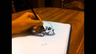 3d anamorphic drawing 4 skull