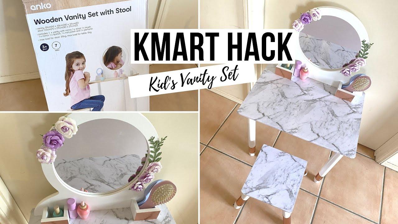Kid S Wooden Vanity Makeover Kmart Hack Youtube