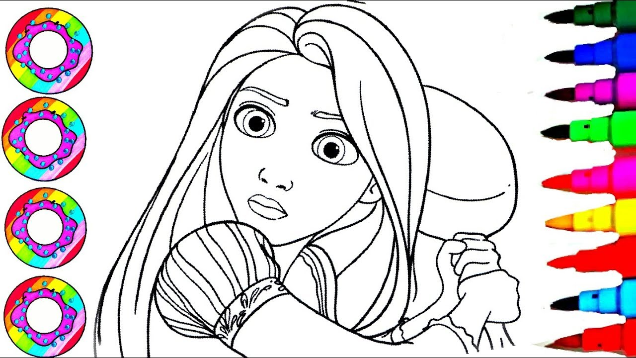 Coloring Disney Tangled Funny Rapunzel with a Cooking Pan ...