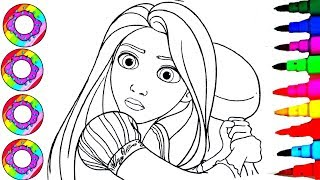 Coloring Disney Tangled Funny Rapunzel with a Cooking Pan Coloring Pages l How to Draw and Color