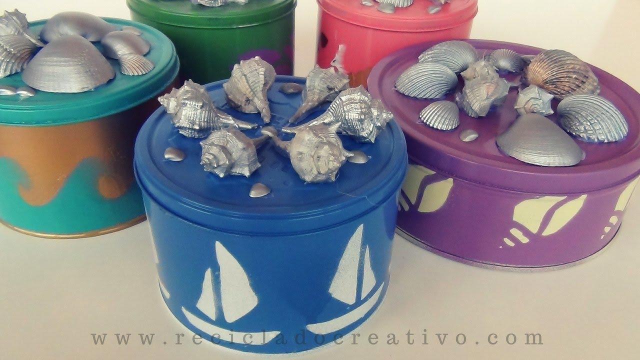 Diy cajas de galletas decoradas con motivos marineros - Manualidades pintar caja metal ...