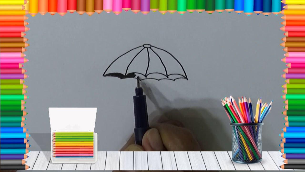 Belajar cara menggambar payung
