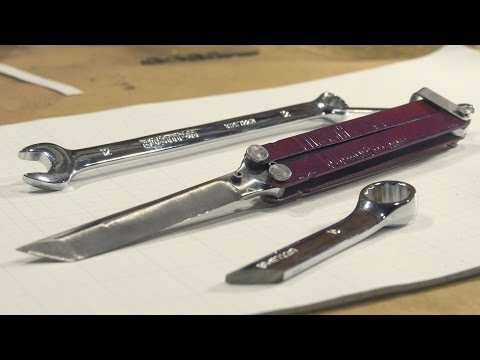 How to Make a Balisong / Butterfly knife from a Wrench (NO F