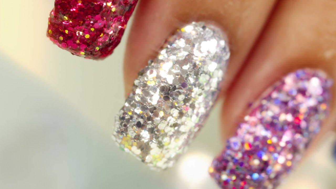 Full Nail Glitter Nail Art Youtube