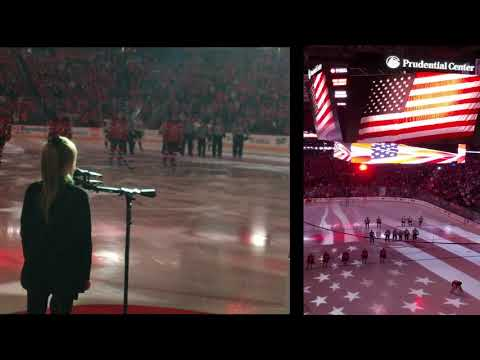 The National Anthem sung by 9 year old Ariana Matolak - New Jersey Devils 2018