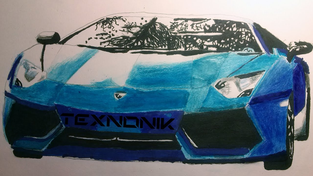 Drawing Sport Car Lamborgini With Watercolor ,pencils And Markers   YouTube