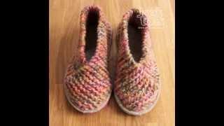 МК простой способ вязания домашней обуви.MC easiest way to knit slippers