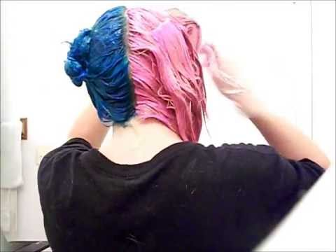 how i dyed my hair half blue and half pink