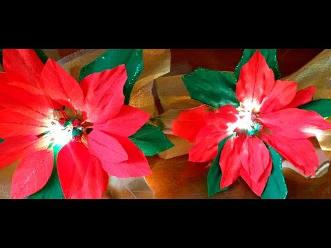 DIY How to make Paper Flowers Lighted Poinsettia Garland
