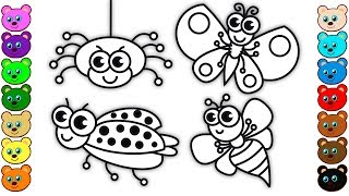 Coloring for Kids with Insects & Bugs - Coloring Pages for Children