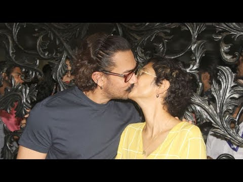 Aamir Khan KISSING Wife Kiran Rao In Front Of Media At Birthday Party 2018 At House In Bandra