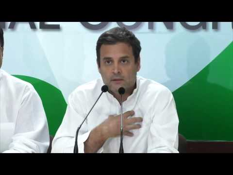 Congress President Rahul Gandhi addresses the media at AICC HQ