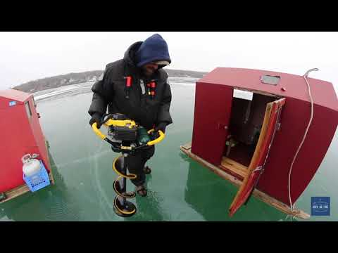 Ice Fishing On Lake Erie Near Put-In-Bay