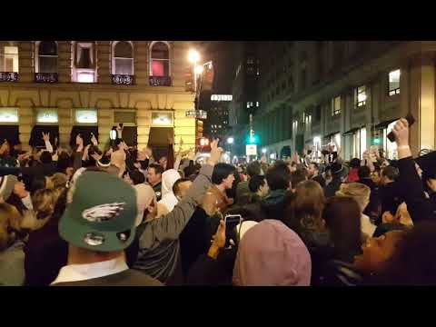Eagles Fans Celebrate on Broad Street After Eagles Win NFC Championship!