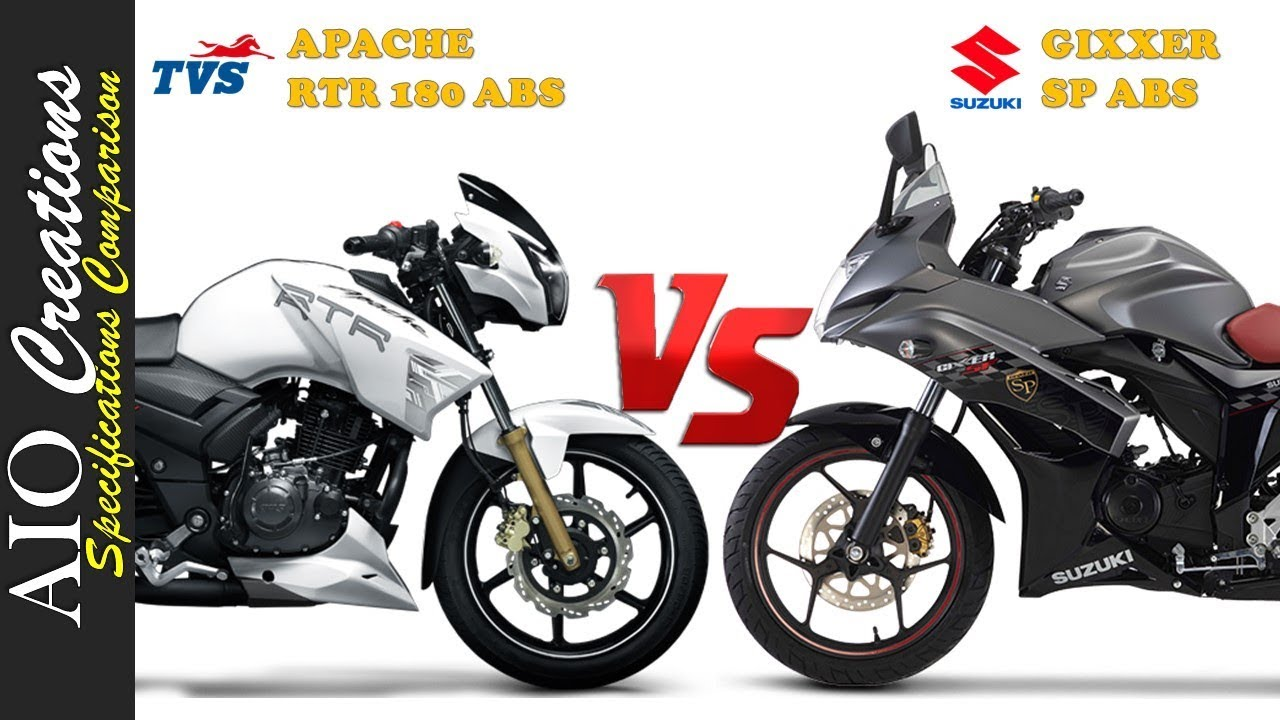 suzuki gixxer sf sp abs vs tvs apache rtr 180 abs youtube