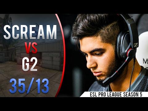 CSGO POV ScreaM vs G2 | KD - 35/13 & 77% Headshots @ ESL Pro League S5