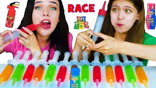 ASMR Jello Shooter Race Challenge with MOST POPULAR SOUR CANDY