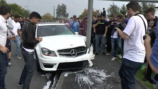 Repeat youtube video Mercedes C63 AMG - CRASH & REACTION at Gumball Meet!!