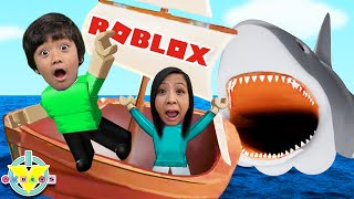 Ryan and Mommy Escape BIGGEST SHARK in ROBLOX! Let's Play Roblox Shark Bite